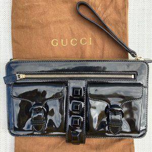 Gucci Light Patent Leather Evening Wristlet